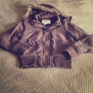 EUC, Brown Roxy coat with removable hood, size S.